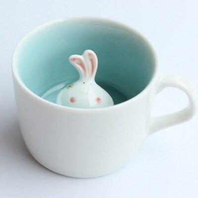 ☆咖啡杯 彩繪馬克杯-可愛卡通兔兔附蓋陶瓷水杯72ax27【獨家進口】【米蘭精品】