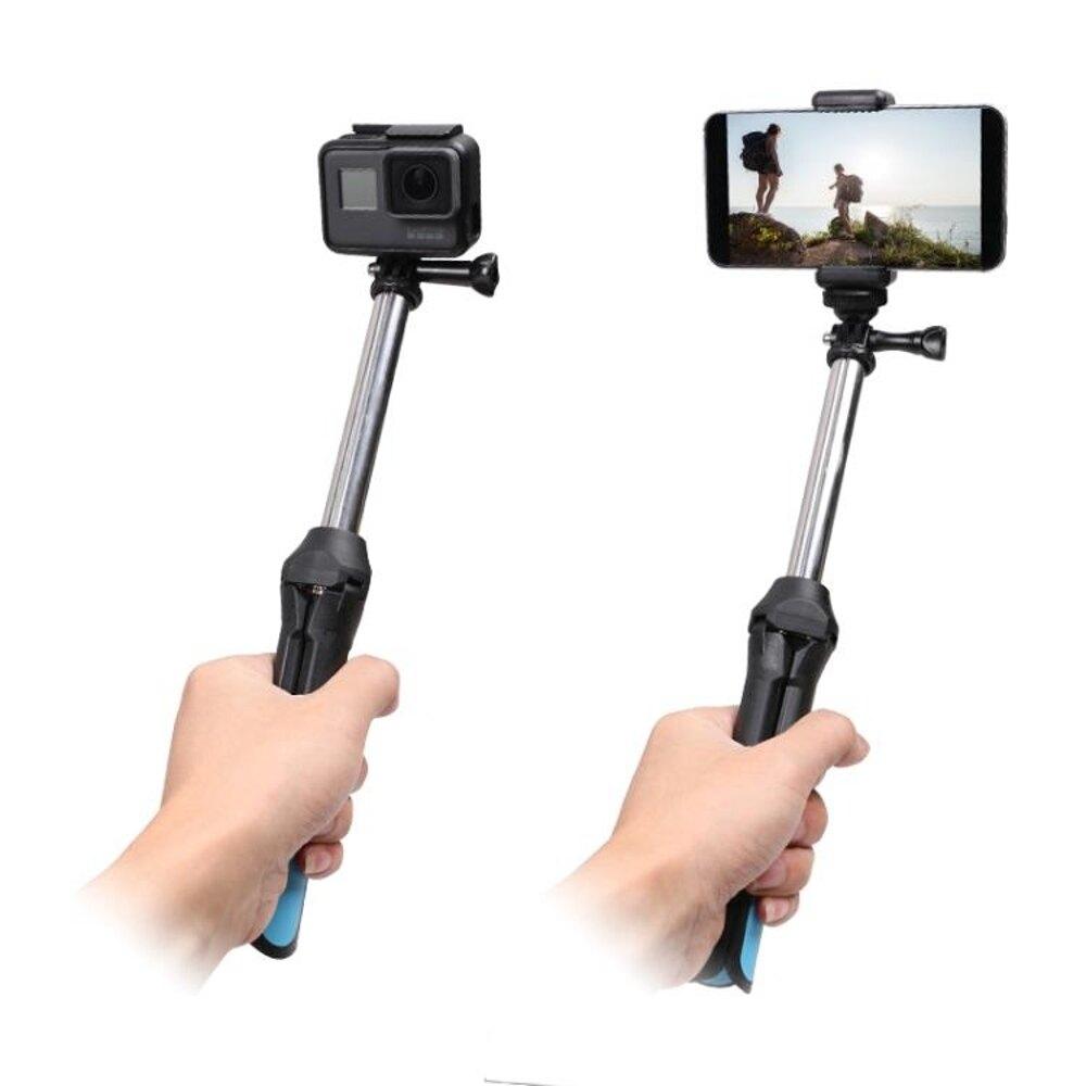 多功能手機 運動相機三腳架自拍桿 For Gopro小蟻配件 藍芽遙控器 雙12購物節