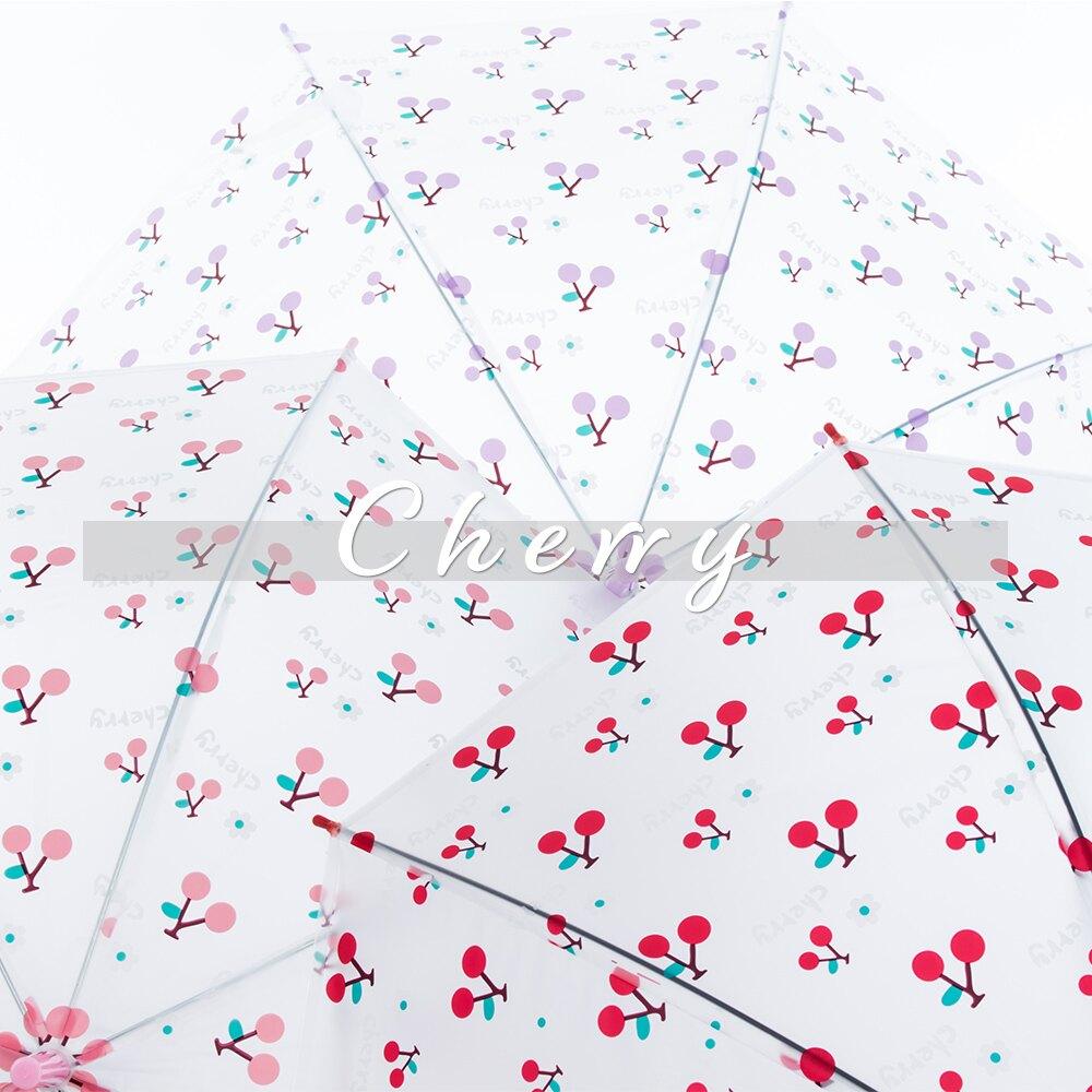 雨傘 日系可愛櫻桃款 3色 自動開傘 直傘 直立傘  透明傘 加寶家居 【免運】248【FB248】