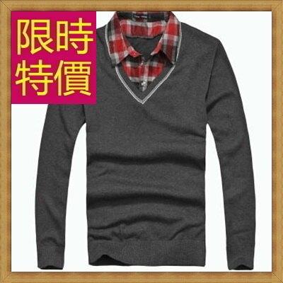 ★毛衣 長袖襯衫-假兩件造型針織羊毛男上衣3色59ac9【韓國進口】【米蘭精品】