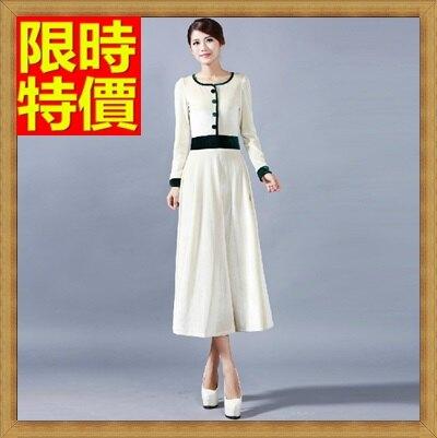 禮服連身長裙-長袖圓領拼接金絲絨女洋裝3色65aa21【獨家進口】【米蘭精品】