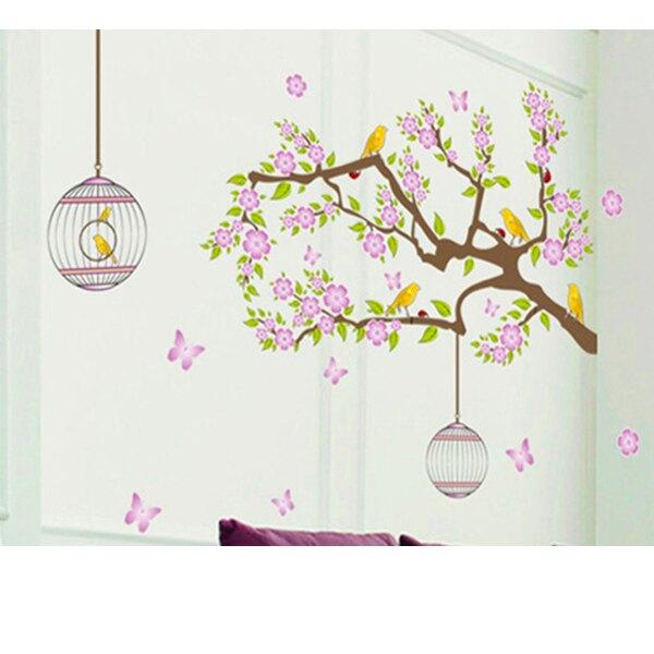 BO雜貨【YV1660-1】新款壁貼 無痕創意壁貼 室內佈置 花鳥 鳥籠樹木 粉紅色花小鳥鳥籠DF5066
