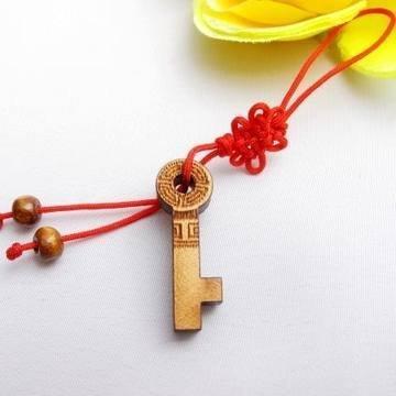 開光桃木 福祿壽喜 手機鏈 金鑰匙 打開智慧 吉祥物
