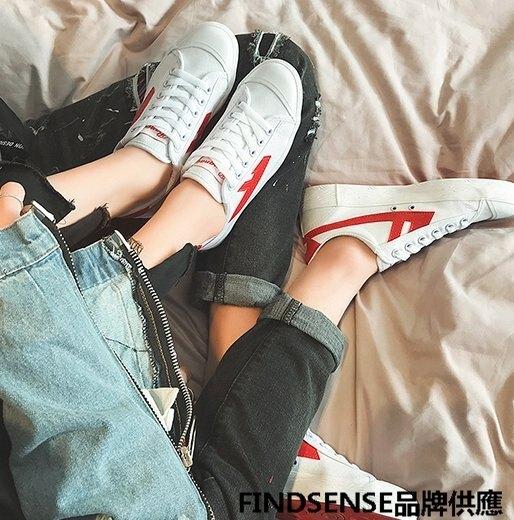 FINDSENSE品牌 四季款 新款 日本 情侶 高品質 文藝小白鞋  輕便運動  舒適透氣 休閒 低幫帆布鞋 潮流鞋子