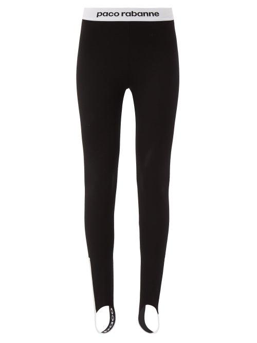 Paco Rabanne - Logo-jacquard Jersey Stirrup Leggings - Womens - Black
