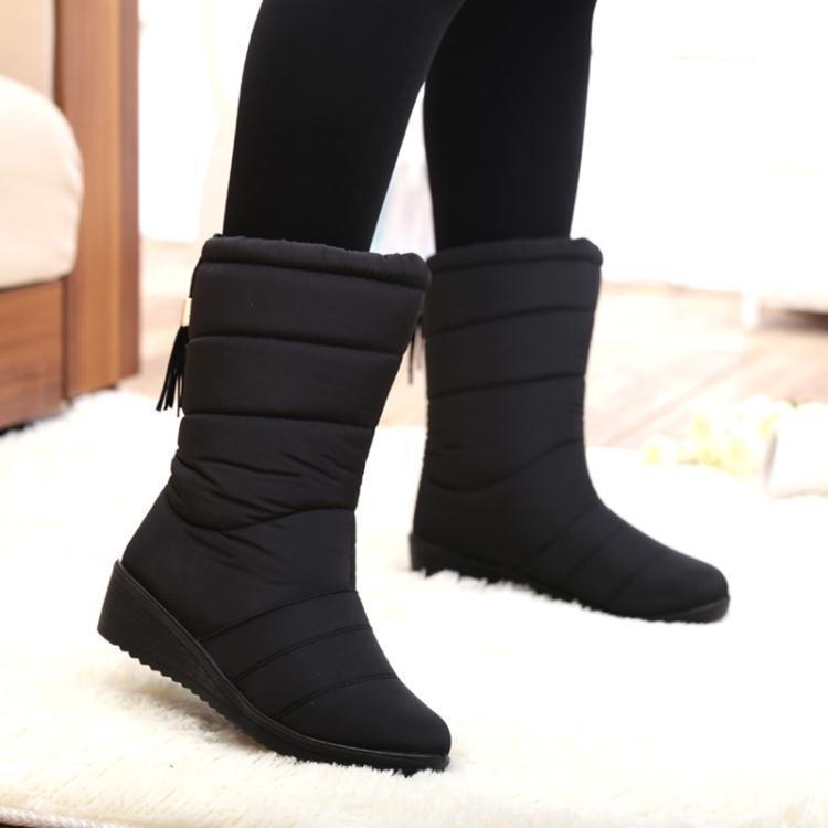 加絨雪靴防滑中筒靴韓版防水保暖女加厚百搭棉靴子