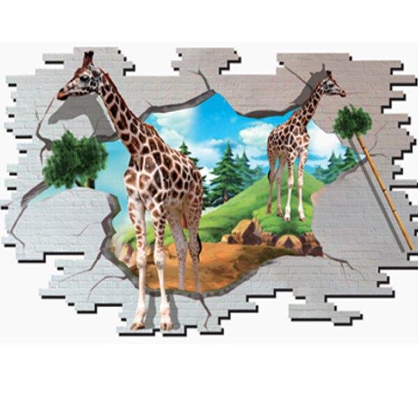 BO雜貨【YV2101-1】新款壁貼 無痕創意壁貼 居家裝飾牆貼 3D立體效果長頸鹿立體牆貼DM69-002