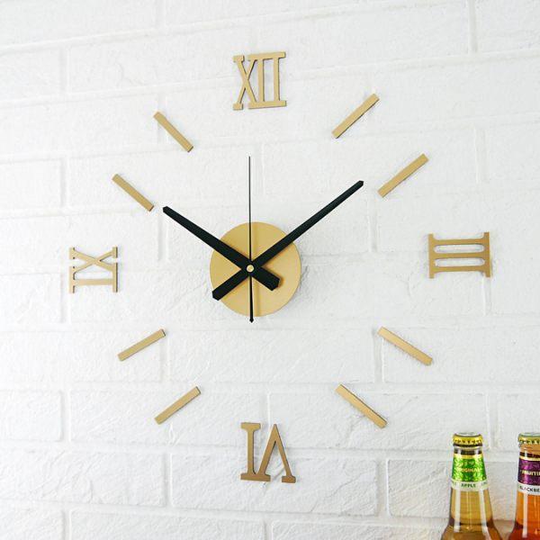 壁貼創意時鐘 DIY立體羅馬數字刻度靜音掛鐘 鏡面黑 金屬色 桃木紋風格 人氣工業風北歐簡約牆面裝潢佈置時鐘