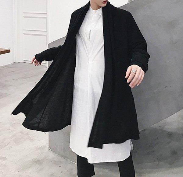 FINDSENSE G6 韓國時尚 開衫男中長款針織衫寬鬆外套暗黑色長大衣