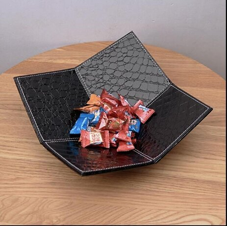 水果盤-水果盆創意五角形果盤 皮革果盆茶幾糖果盤零食盤水果盆客廳干果盤  聖誕節禮物