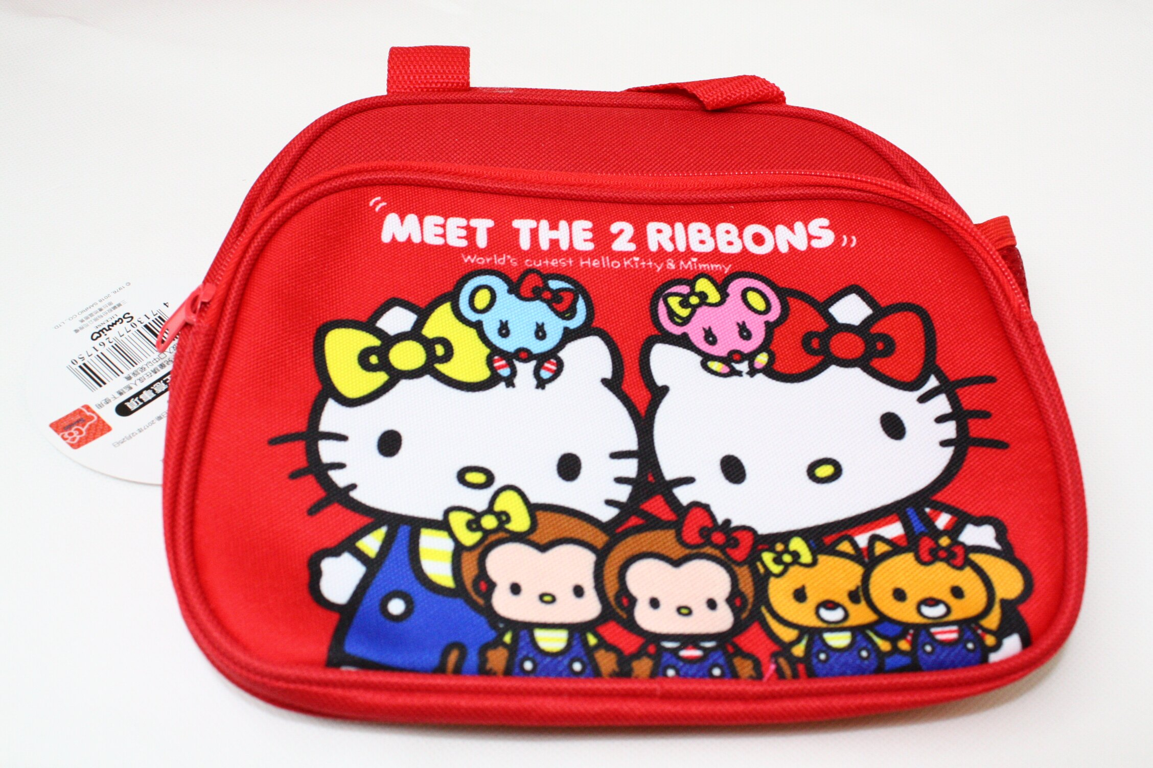 大賀屋 Hello kitty 雙層 外出包 購物袋 便當袋 零錢包 桃紅 凱蒂貓 KT 三麗鷗 正版 授權 Z0003