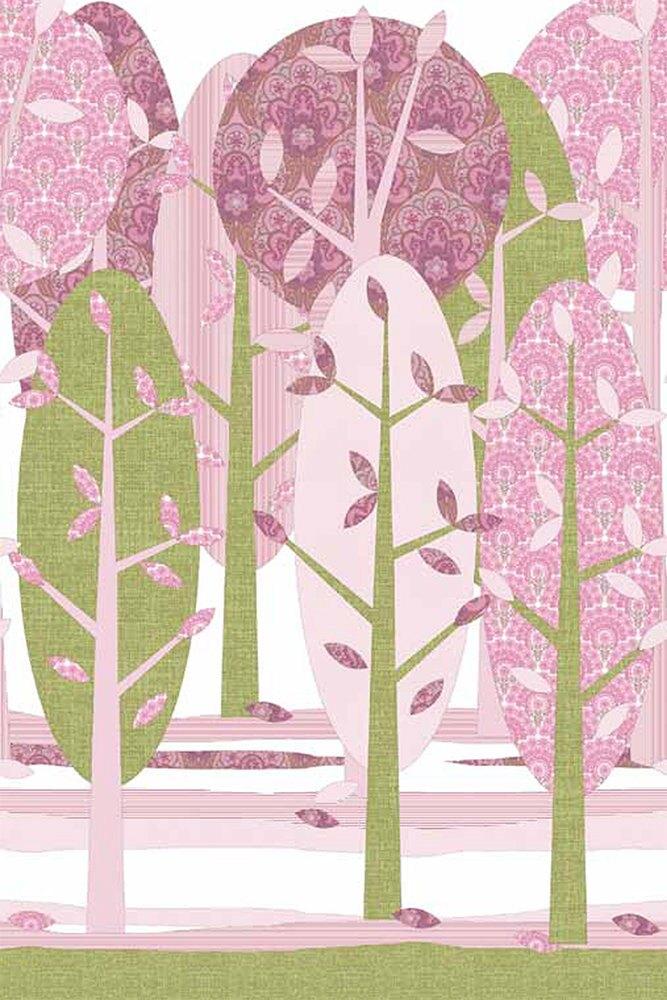 INKE / Leidse Hout Roze IK2063 【訂貨單位:4張壁畫/1套】 兒童房壁紙 森林牆紙 樹木 粉色 粉紅色