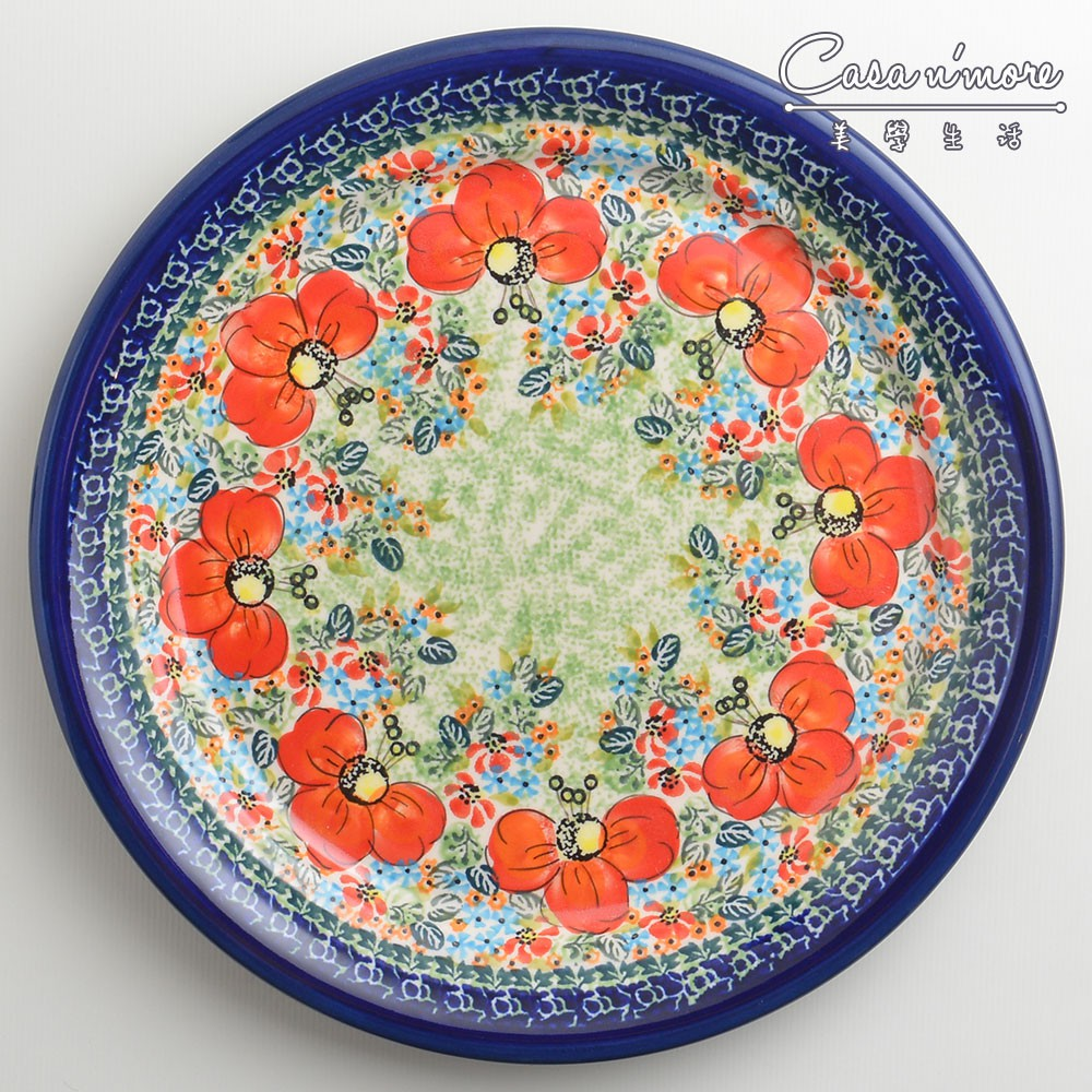 波蘭陶 繽紛紅卉系列 圓形餐盤 陶瓷盤 菜盤 點心盤 圓盤 沙拉盤 25cm 波蘭手工製