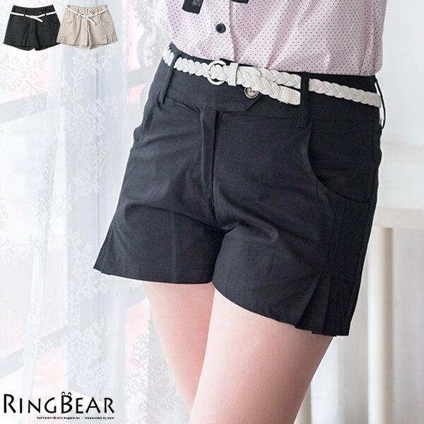 短褲--唯美輕熟側邊壓摺寬版下擺設計短褲附腰帶(黑.卡其M-6L)-R134眼圈熊中大尺碼