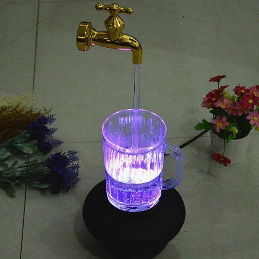 永動機 創意魔法懸浮水龍頭魔術七彩水杯燈隔空取水懸空裝飾牛頓永動擺件 名創家居館
