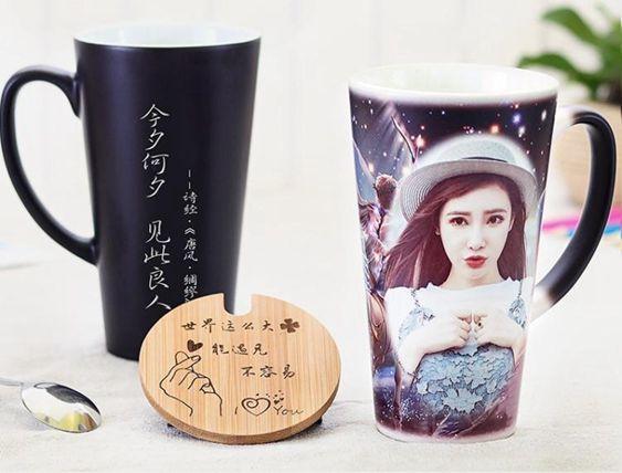 印照片客制馬克杯定logo瓷陶水杯子情侶加熱變色杯一對帶蓋勺