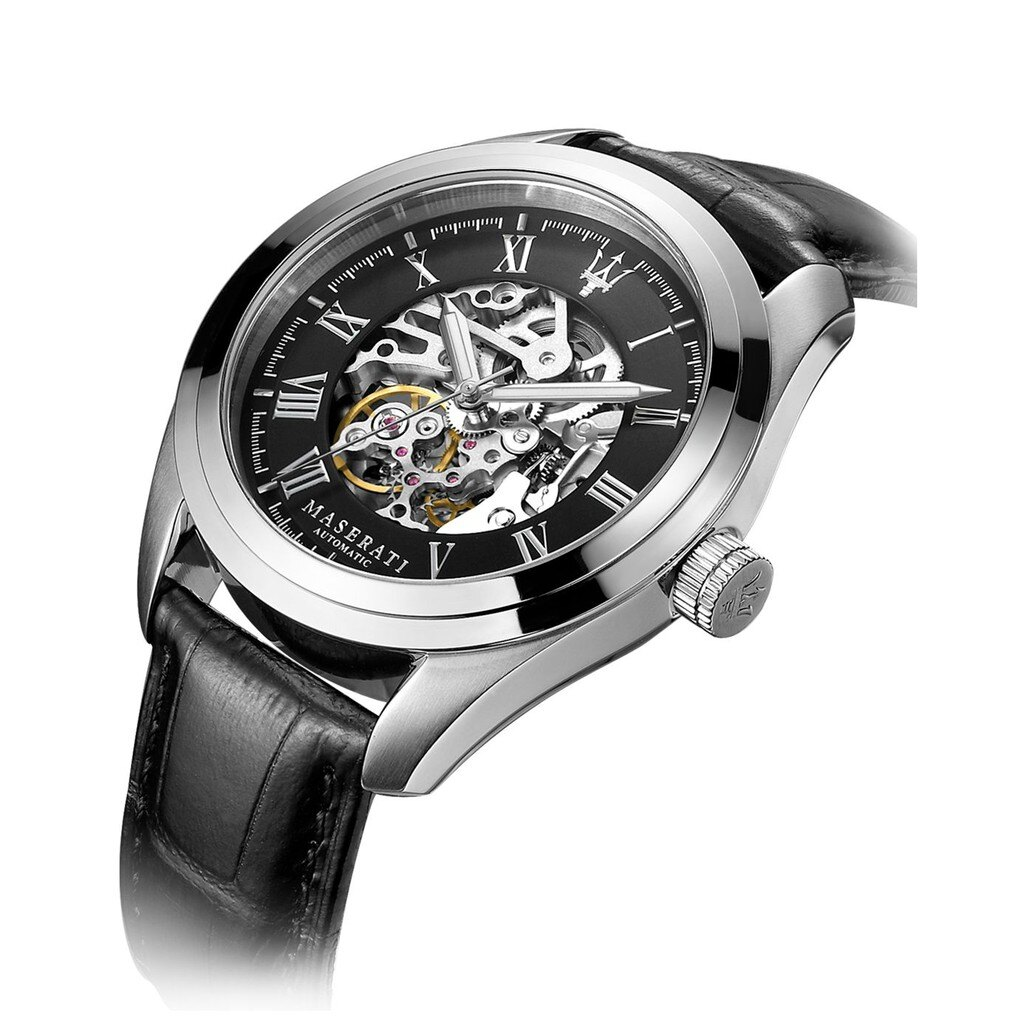 MASERATI 羅碼數字刻度 簍空機械錶 男皮錶 R8871612001 【Watch-UN】