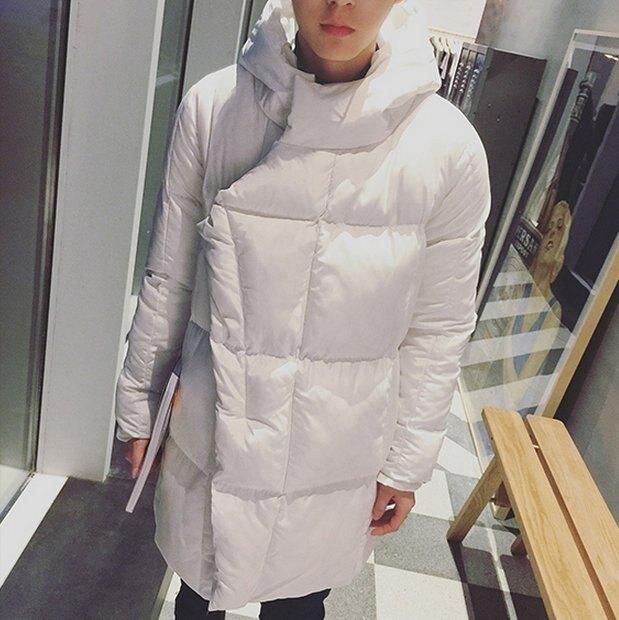 韓國 長版 鋪棉 羽絨外套 男 女 長版 保暖外套 大衣