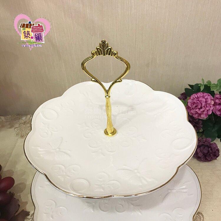 白瓷金邊玫瑰點心盤-二層