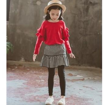 子供服 2点セット長袖 Tシャツ チュール キュロットスカート トップス 長ズボン 春秋 女の子 レジャー キッズ ファッション感