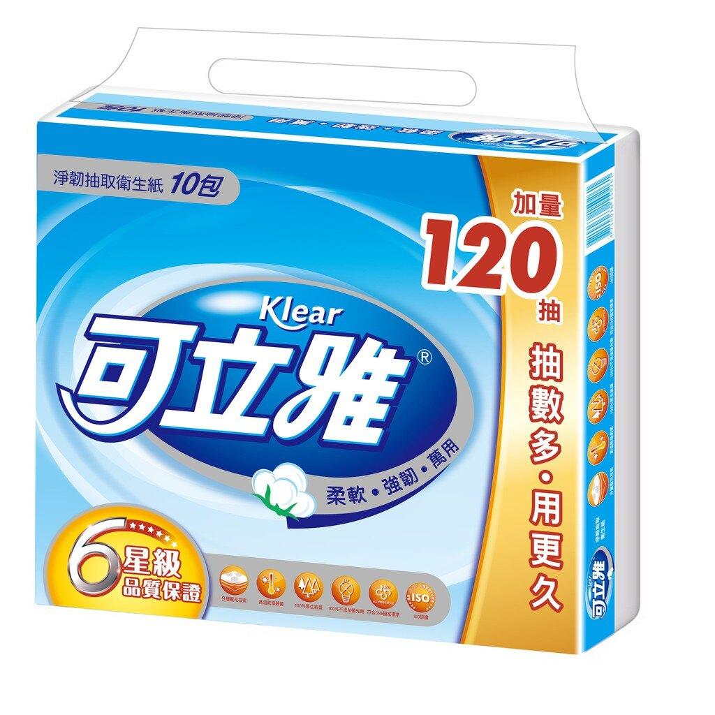 可立雅 淨韌抽取衛生紙90+12抽(10包x10串/箱)