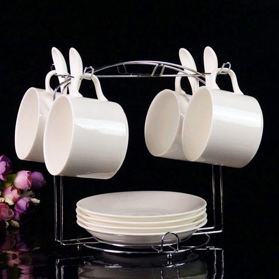歐式陶瓷杯咖啡杯套裝高檔金邊創意4件套骨瓷咖啡杯碟勺帶架子
