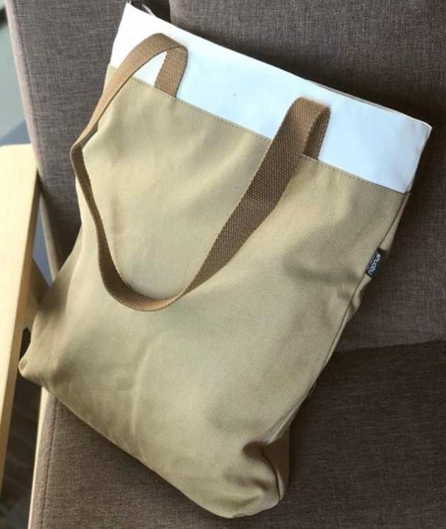 原創日韓風簡約時尚加厚帆布環保購物收納包袋單肩手拎