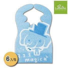 【淘氣寶寶】Lullmini Floret 嬰幼童拋棄型圍兜 -  魔術象  (6入) 台灣設計/製造 【 吸水不織布+PE防水膜.髒汙不滲透】
