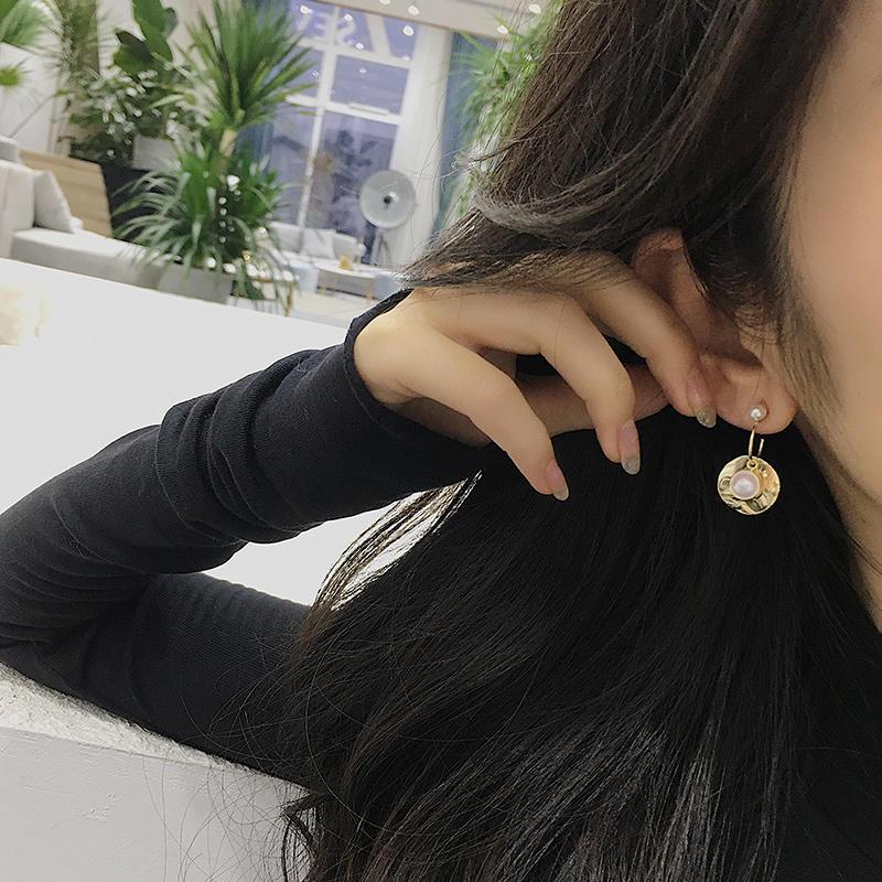 銀針巴洛克珍珠女氣質耳墜設計感耳釘小眾耳飾耳環冬季款網紅復古1入
