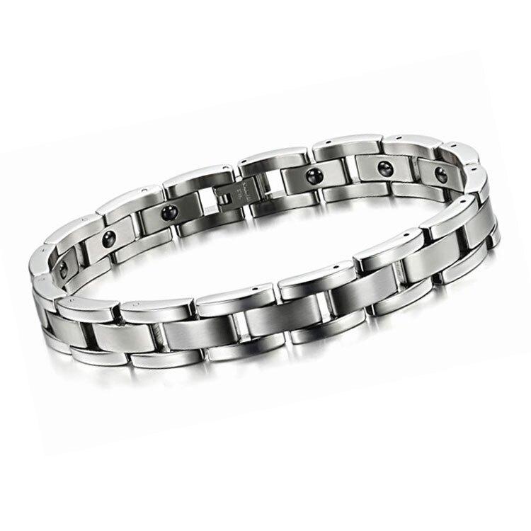 【5折超值價】  情人節禮物最新熱銷款經典時尚造型男款鈦鋼磁石手鍊