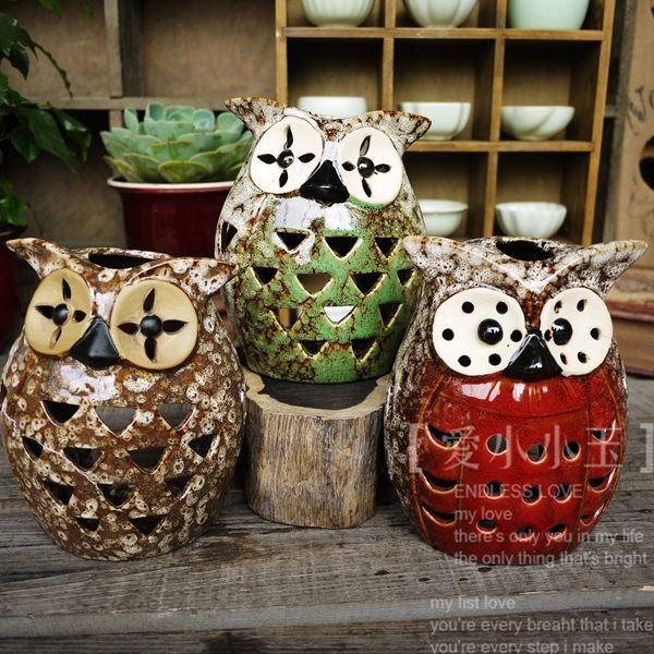 【貓頭鷹:三色信使】陶瓷家居工藝品擺件(一個價)(圖一)
