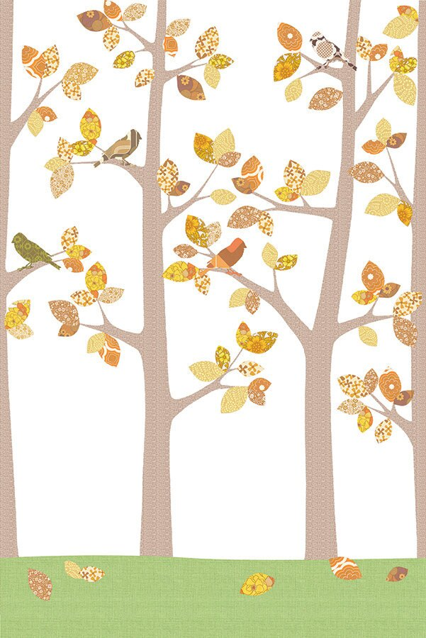 INKE / Bos Oktober 126 IK2022 【訂貨單位:4張壁畫/1套】兒童房壁紙 可愛牆紙 森林 小鳥 秋 樹葉拼貼