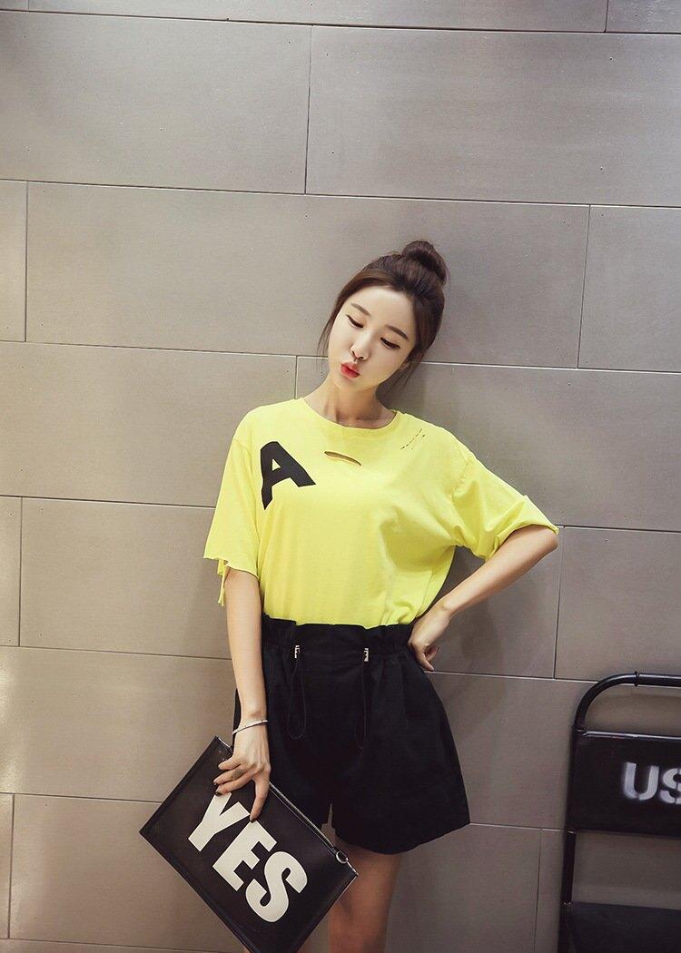 FINDSENSE G5 韓國時尚 夏季 圓領 破洞 短袖 T恤 寬鬆 顯瘦 學生上衣