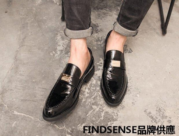 FINDSENSE品牌 四季款 新款 日本 男 高品質 真皮 厚底增高 商務 休閒 舒適小皮鞋 懶人樂福鞋 潮流鞋子