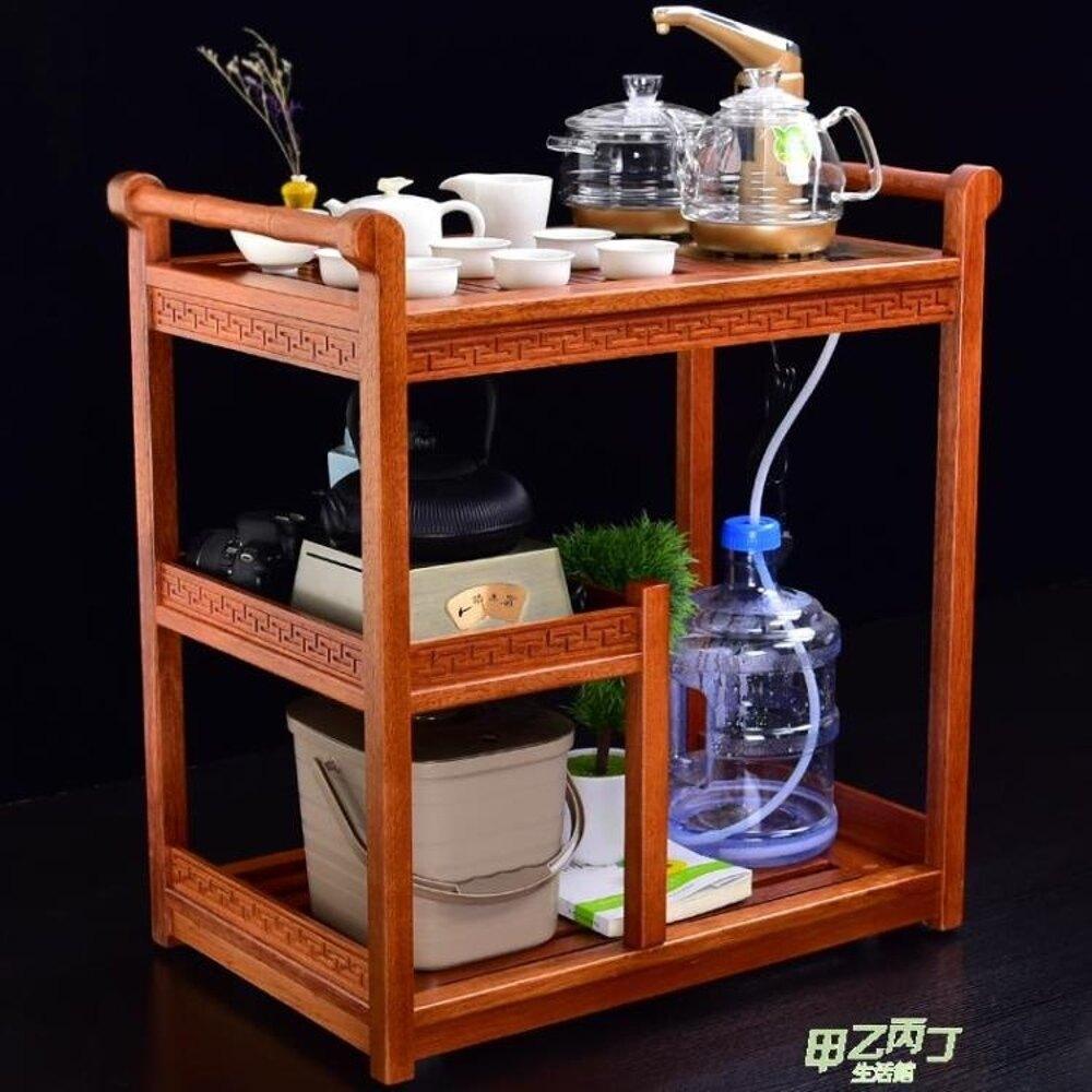 茶桌功夫紅木小茶車茶台簡約實木可移動茶幾金?花梨木多功能家用