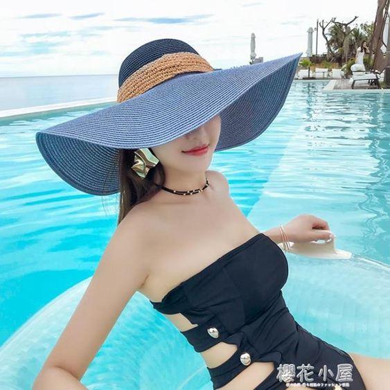 沙灘帽子女夏海邊大沿可折疊太陽帽女士夏天防曬夏季出游遮陽草帽『櫻花小屋』