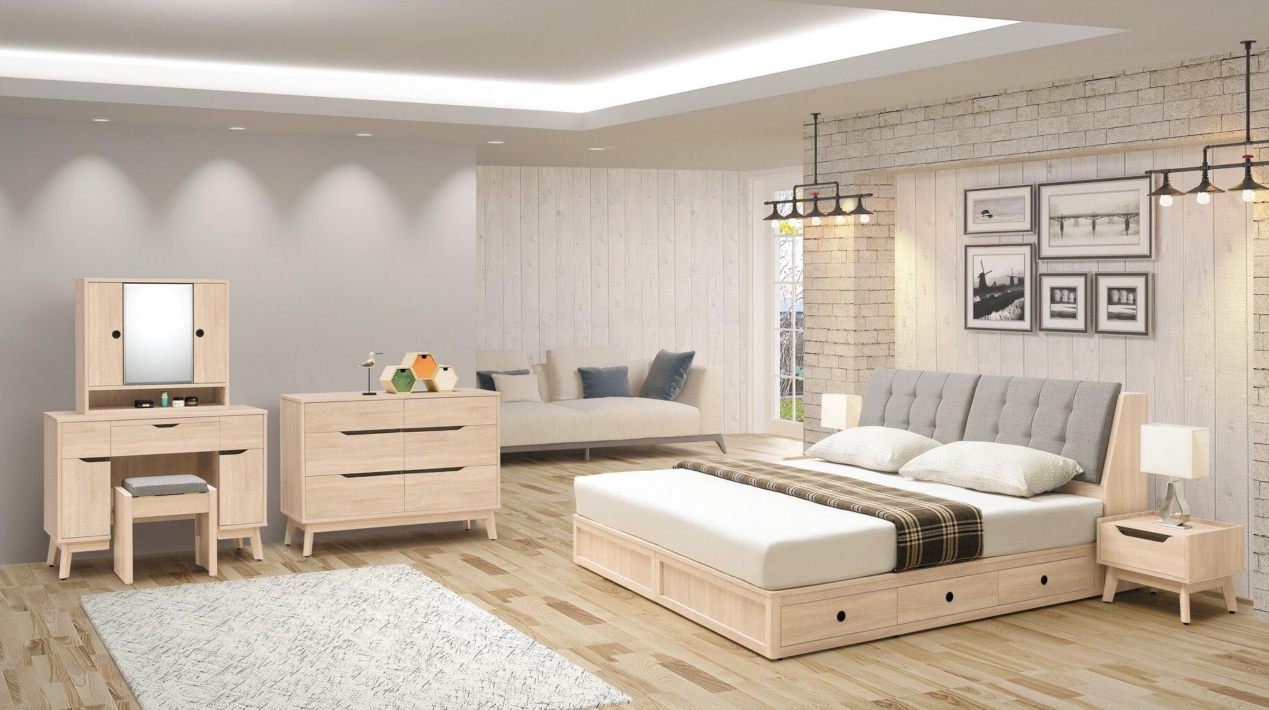 亞倫傢俱*澳斯陸立體木紋5尺床頭箱