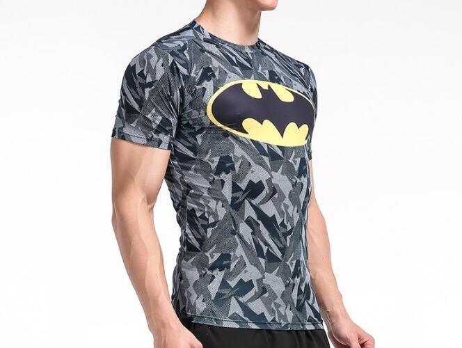 FINDSENSE MD 日系 時尚 男 胸前蝙蝠標 高彈力 緊身運動短T 訓練服 跑步 健身T恤 3D 圖案 短袖T恤