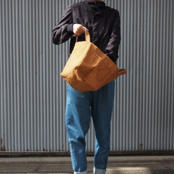 soft cube bag - ソフトキューブバッグ キャメル/グレーベージュ アーミーダック 帆布トート