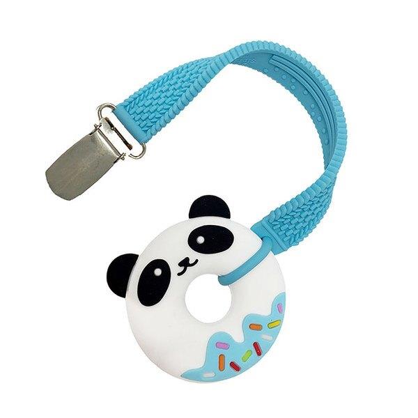 【淘氣寶寶】美國 Silli Chews 迷你貓熊夾帶咬牙器-藍 SC-29