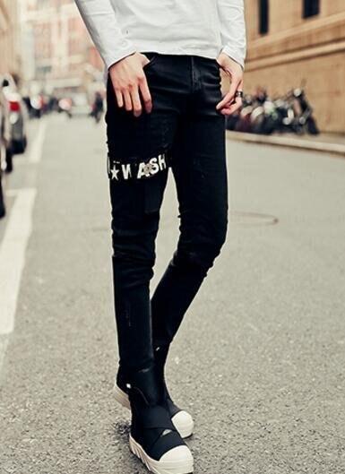 FINDSENSE品牌 男 時尚 街頭 潮 個性貼布英文印花 牛仔褲 九分褲 小腳褲 窄管褲