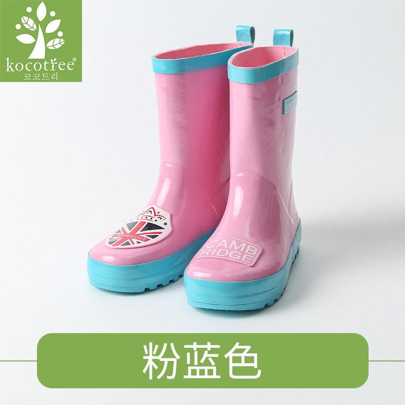 WallFree窩自在★經典學院風劍橋米字徽章橡膠兒童雨鞋