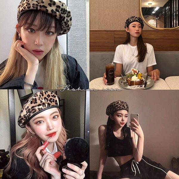 豹紋 貝雷帽 帽子 貝蕾帽 毛帽 造型帽 皮格 拼接 畫家帽 八角帽 明星 網紅 韓國 歐美 ANNA S.299