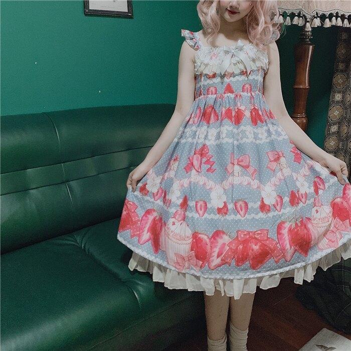 LO娘連身裙日常輕lo娘蘿莉裙學生洛麗塔正版裙原創lolita夏季兒童裙草莓裙