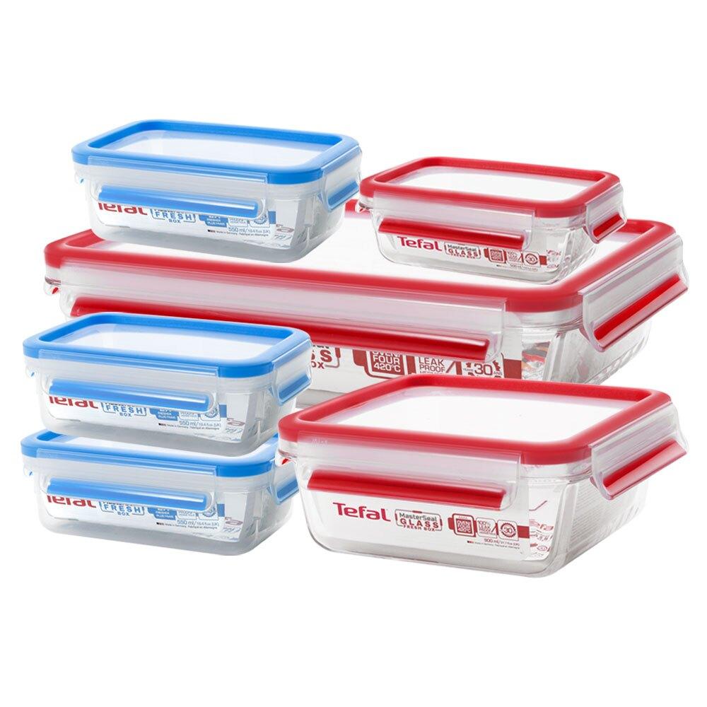Tefal法國特福 德國EMSA原裝 無縫膠圈防漏保鮮盒-小家庭超值6件組(0.5L+0.9L+2L+0.55Lx3)