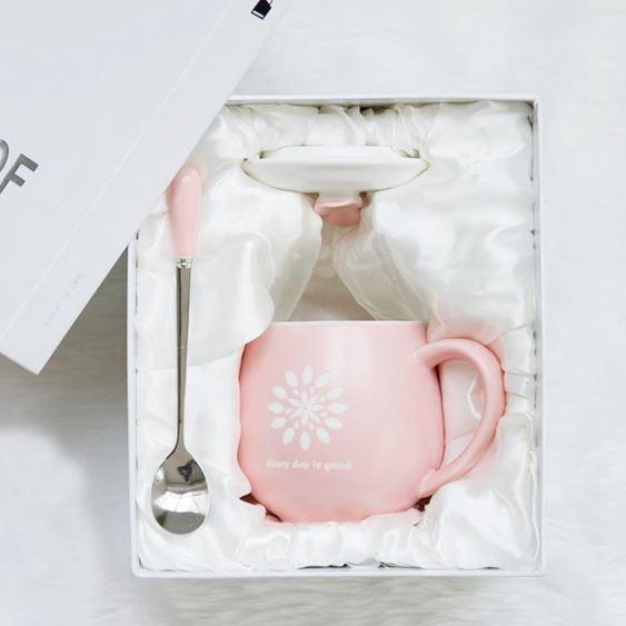 創意陶瓷杯可愛早餐杯個性杯子水杯咖啡杯情侶杯馬克杯帶蓋勺