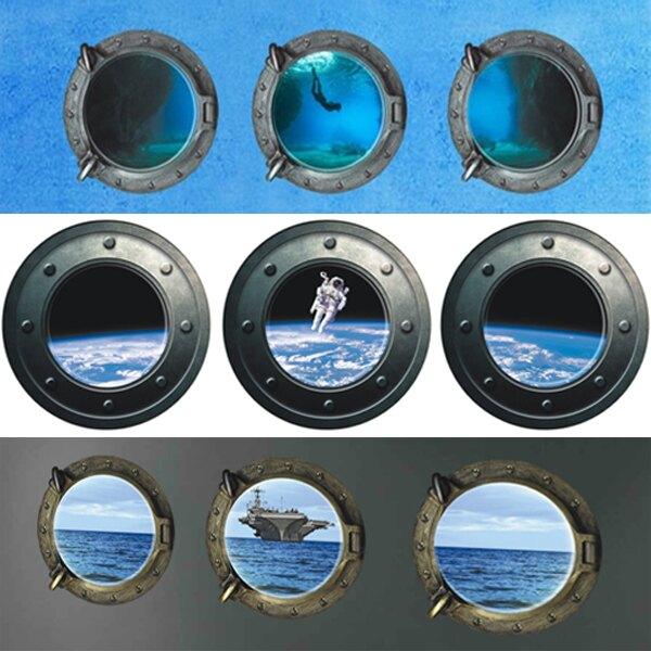 BO雜貨【YV0023-2】創意壁貼 3D立體 三窗 太空艙窗景 天空戰機 太空人 海洋母艦 巴黎風情 海底美人魚