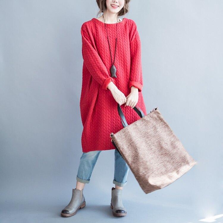 享瘦衣舍中大尺碼【B9140】時尚麻花格紋連衣裙&口袋洋裝