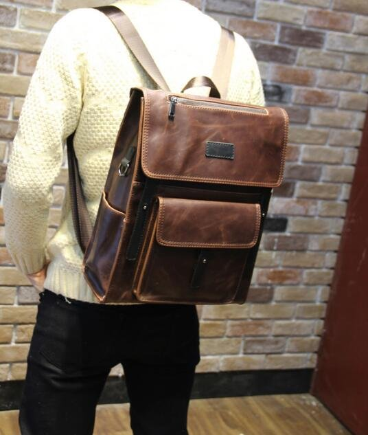 FINDSENSE Z1 韓國 時尚 潮 男 皮質 多口袋 休閒 學生包 旅行包 電腦包 書包 後背包 雙肩包