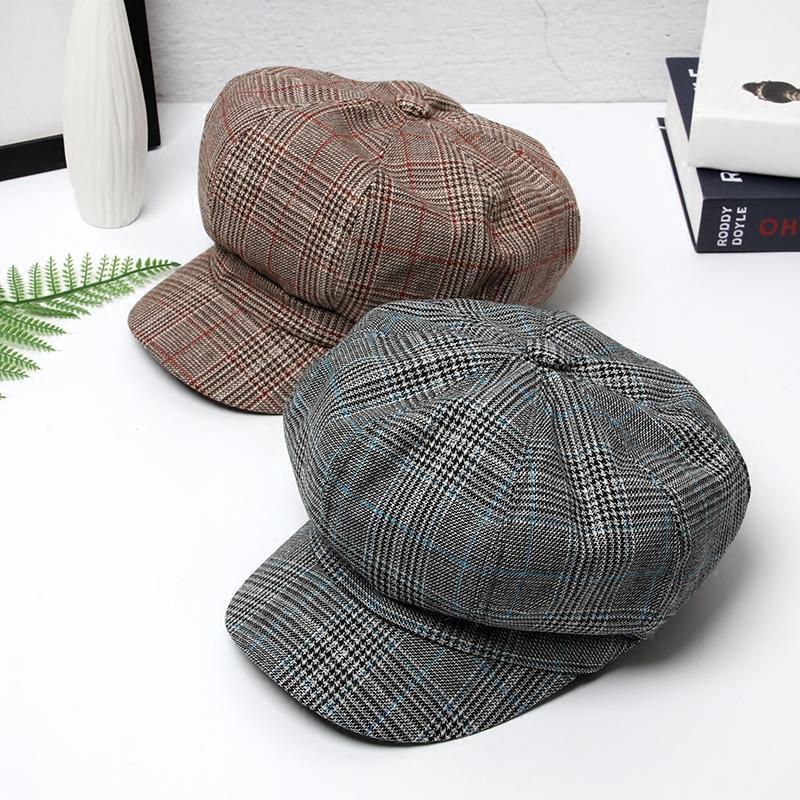 貝雷帽男女秋冬潮韓版復古畫家帽英倫格子八角帽子百搭休閑報童帽1入